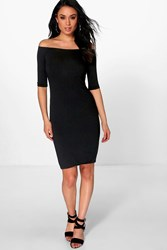 Boohoo Summer 3 4 Sleeve Bodycon Dress Black