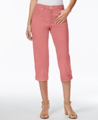 Styleandco. Style And Co. Tummy Control Cuffed Capri Jeans Dusty Rouge