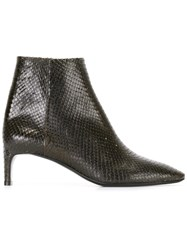 David Beauciel 'Andie' Python Effect Ankle Boots Green
