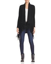 Bloomingdale's C By Fringe Drop Shoulder Cashmere Cardigan Black