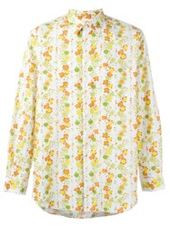 Comme Des Garcons Vintage Floral Print Shirt Yellow And Orange