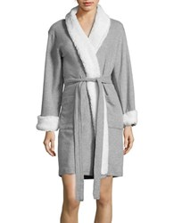 Nautica Sherpa Trimmed Cotton Blend Robe Grey