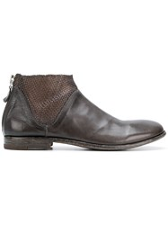 Moma Woven Detail Ankle Boots Brown