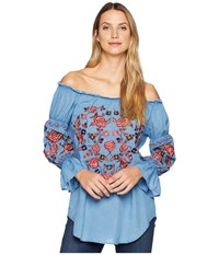 Scully Bara Off The Shoulder Boho Embroidered Top Avalanche Blue Clothing