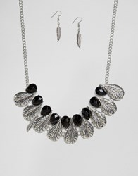 Ruby Rocks Feather Detail Necklace And Earring Set Gold Black
