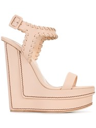 Giuseppe Zanotti Design Wedge Sandals Nude Neutrals