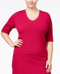 Rachel Roy Curvy Trendy Plus Size Textured Sweater Fuchsia