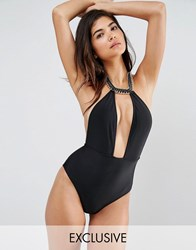 Wolf And Whistle Chain Neck Swimsuit Black