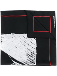 Karl Lagerfeld Legend Silk Scarf Black