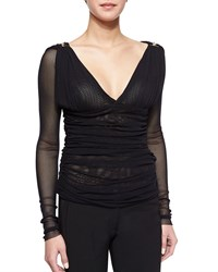 Versace Long Sleeve Ruched Mesh Top Black