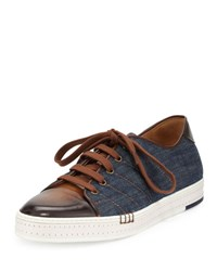 Berluti Playfield Side Stitch Denim And Leather Sneaker Navy