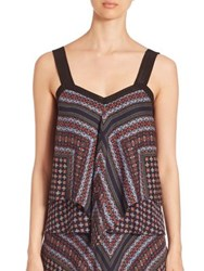 Derek Lam Tiered Silk Tank Top Blue Multi