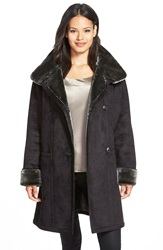 Gallery Stand Collar Faux Shearling Coat Regular And Petite Black