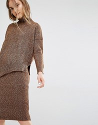 Paisie Asymmetric Jumper In Marl Knit Brown