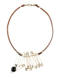 Salvatore Ferragamo Necklaces Brown