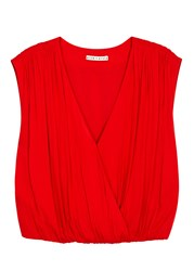 Alice Olivia Dania Red Wrap Effect Top