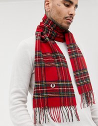 Fred Perry Royal Stewart Tartan Scarf In Red