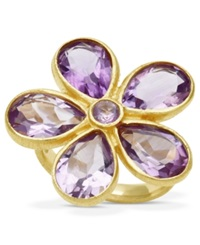 Macy's 18K Gold Over Sterling Silver Ring Amethyst Flower Ring 6 9 10 Ct. T.W.