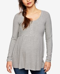A Pea In The Pod Maternity Ribbed Babydoll Top Light Grey Charcoal Stripe