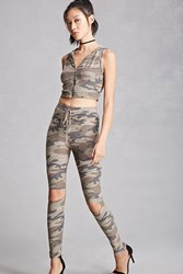 Forever 21 Camo Raw Cut Pants Brown