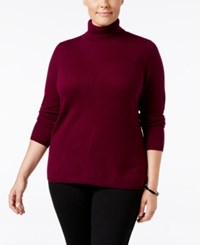 Charter Club Plus Size Cashmere Turtleneck Sweater Only At Macy's Black Cherry