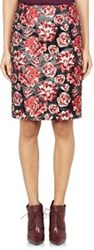 Lanvin Lame And Brocade Pencil Skirt Red