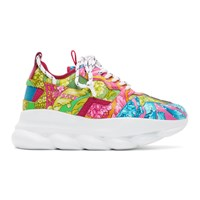 Versace Multicolor Brocade Chain Reaction Sneakers