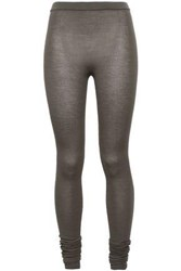 Rick Owens Woman Ribbed Stretch Cashmere Leggings Gray
