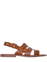 Zeus Caged Leather Slingback Sandals Tan