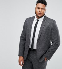 Farah Plus Skinny Suit Jacket In Fleck Grey