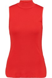 Splendid Turtleneck Shell And Modal Blend Top Red