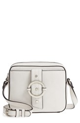 Sole Society Faux Leather Camera Crossbody Bag White Linen