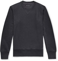 Fabric Brand And Co Loopback Cotton Linen Blend Jersey Sweatshirt Midnight Blue