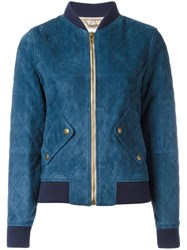 Chloe Quilted Bomber Jacket Blue