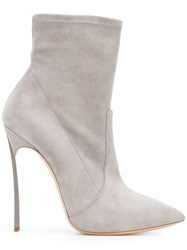 Casadei Blade Ankle Boots Women Chamois Leather Leather Kid Leather 37 Grey