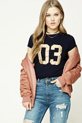 Forever 21 Metallic 03 Graphic Tee Navy Gold