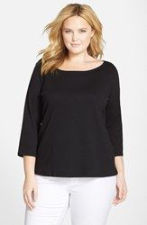 Eileen Fisher Plus Size Women's Organic Cotton Ballet Neck Top Black
