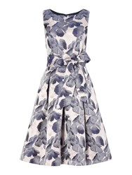 Eliza J Fit And Flare Floral Print With Belt Grey