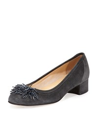 Sesto Meucci Flynn Beaded Fringe Pump Dark Gray Dark Grey