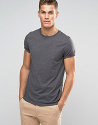 Asos T Shirt With Crew Neck And Roll Sleeve In Charcoal Marl Charcoal Marl Grey