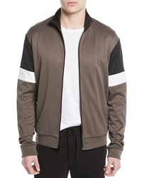 Vince Colorblock Zip Front Track Jacket Dried Herb