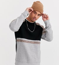 Only And Sons Leopard Print Panel Sleeve Sweat In Black