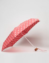 Cath Kidston Tiny Button Spot Print Umbrella In Cranberry Spot Cranberry Red