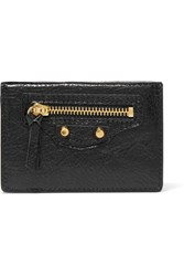 Balenciaga Classic City Mini Textured Leather Wallet Black