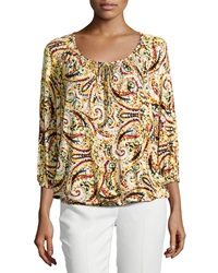 Joan Vass Paisley 3 4 Sleeve Keyhole Tee Orange Multi
