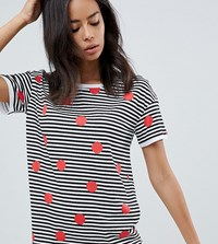 Noisy May Tall Stripe And Spot Print T Shirt White Red Black
