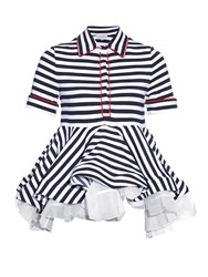 Natasha Zinko Breton Striped Jersey Ruffled Top