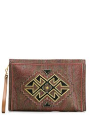 Etro Paisley Geo Print Clutch Bag Brown