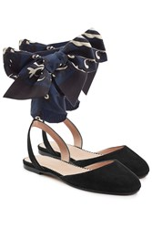 Red Valentino Suede Ballerinas With Printed Bows Black