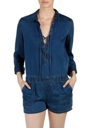 Paige Arley Lace Up Denim Romper Chamber Lain